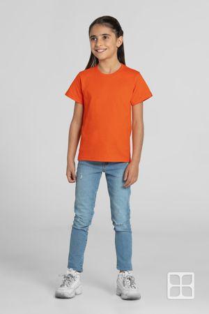 Playera Cuello Redondo Manga Corta para Niños Color Naranja