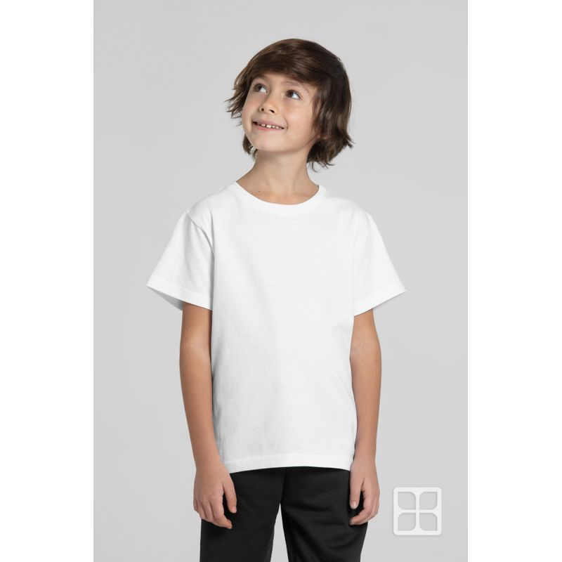 Playera-Cuello-Redondo-Manga-Corta-para-Niños-Color-Blanco