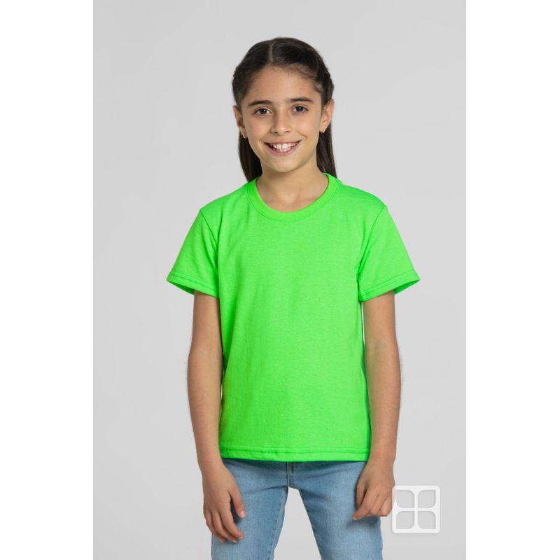 Playera-Cuello-Redondo-Manga-Corta-para-Niños-Color-Verde-Neon
