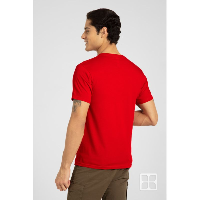 Playera-Cuello-Redondo-Manga-Corta-para-Hombre-Color-Rojo