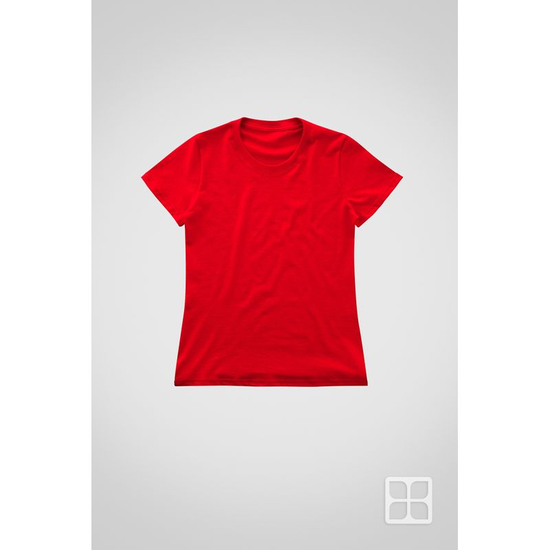 Playera-Cuello-Redondo-Manga-Corta-de-Alta-Calidad-para-Mujer-Color-Rojo