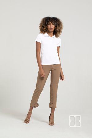 Playera Tipo Polo Premium 100% Poliéster Para Mujer Color Blanco