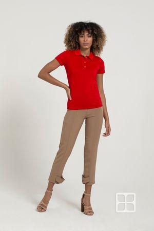 Playera Tipo Polo Premium 100% Poliéster Para Mujer Color Rojo